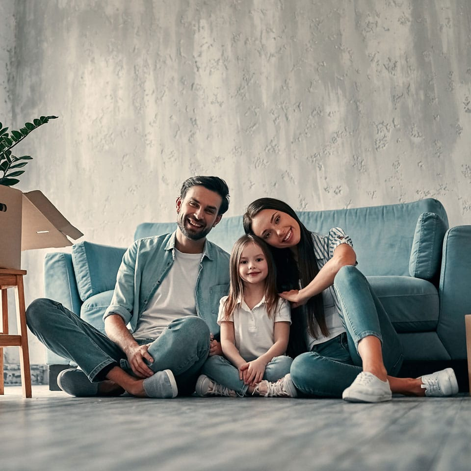 Young family moving into new home as first time buyers